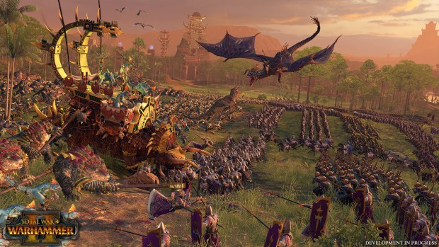 Total War: Warhammer 2 screenshot of a battle between Lizardmen and Dark Elves