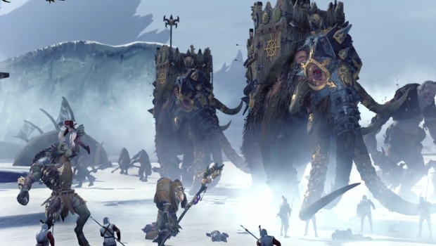 Total War: Warhammer screenshot of Norsca's beasts and mammoths