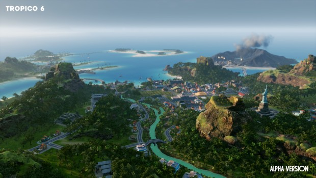 Tropico 6 screenshot of a city nestled in a forest