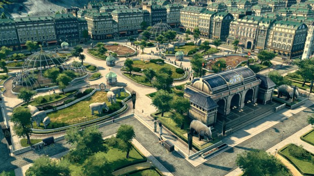 Anno 1800 screenshot of a zoo in the middle of a city