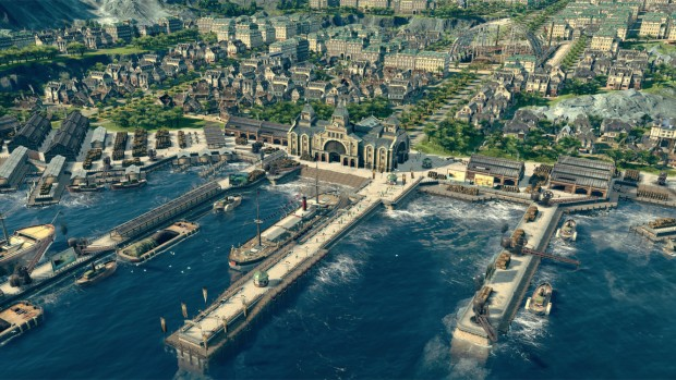 Anno 1800 screenshot of the harbor and the city behind it