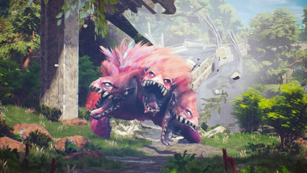 Biomutant screenshot of a three-headed pink monster
