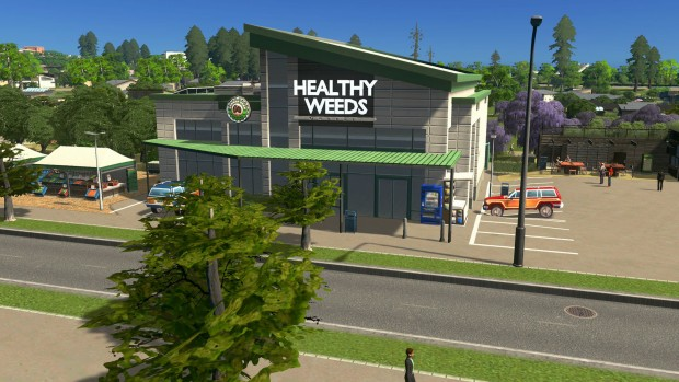 Cities Skylines: Green Cities expansion screenshot of a eco-friendly store