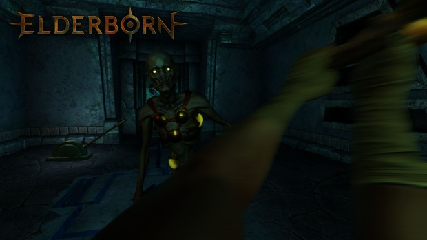 Elderborn chopping up a zombie screenshot