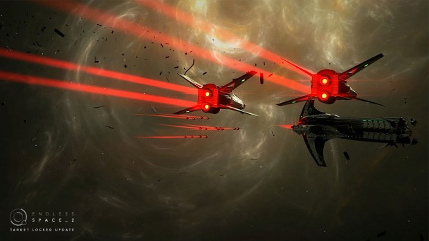 Endless Space 2 screenshot of the Riftborn fighter squadrons in flight