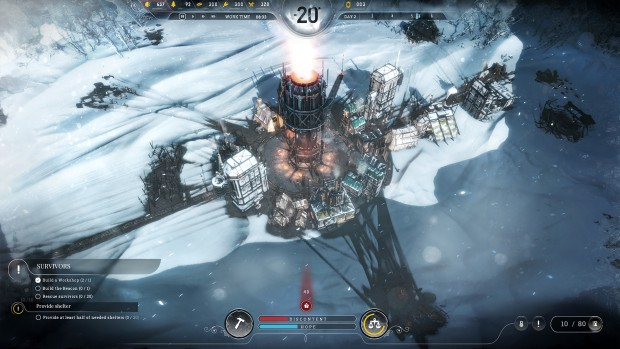Frostpunk screenshot of a very small base