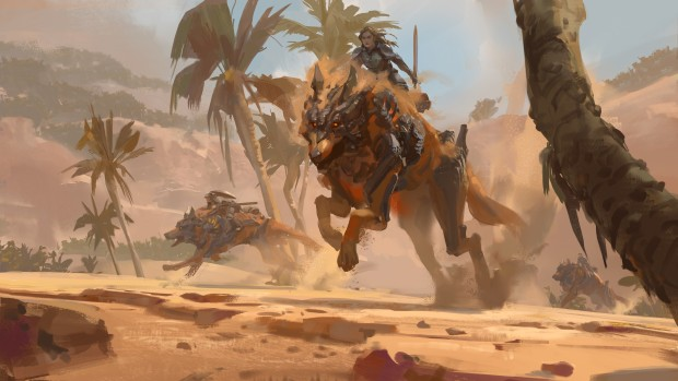 Guild Wars 2: Path of Fire artwork featuring the new Jackal mount