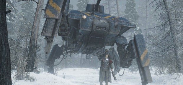 Iron Harvest RTS screenshot of a spider tank in winter