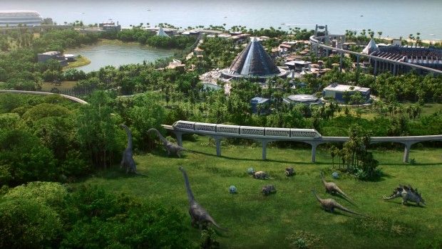 Jurassic World Evolution screenshot from a park from afar