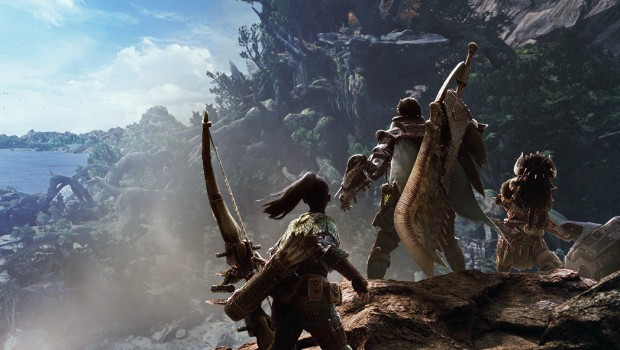 Screenshot of three characters from Monster Hunter: World