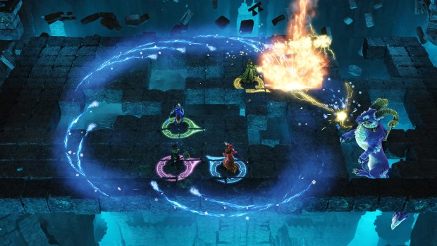 Nine Parchments fighting a dragon boss