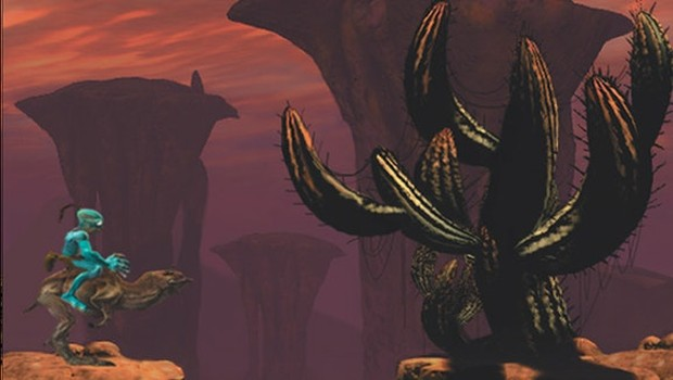 Oddworld: Abe's Oddysee screenshot of Elum and a giant cactus