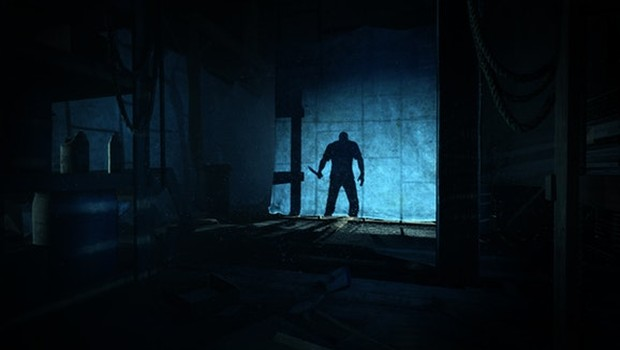 Outlast screenshot of a giant shadow of a man