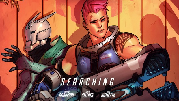 "Zarya and Lynx-17 on the cover of the Overwatch comic ""Searching"""