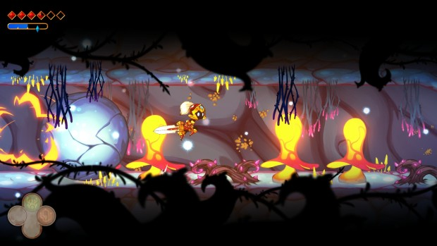 Pankapu screenshot of a tunnel filled with enemies