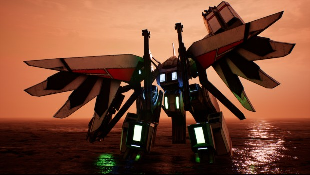Project Nimbus screenshot of a mech from behind at sundown