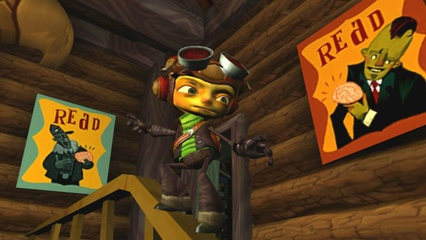 Psychonauts screenshot of our main character sliding down a railing