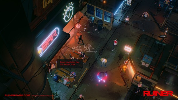 Ruiner screenshot of a cyberpunk city