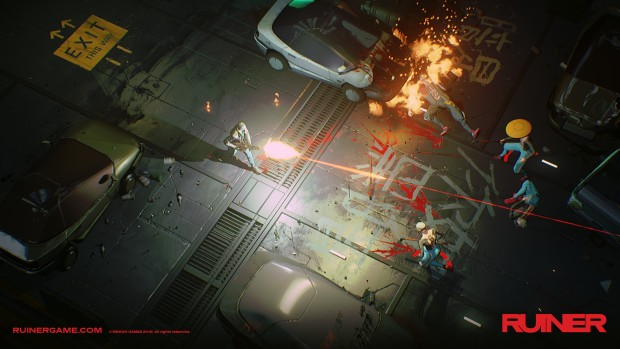 Ruiner screenshot of the machine gun weapon in action