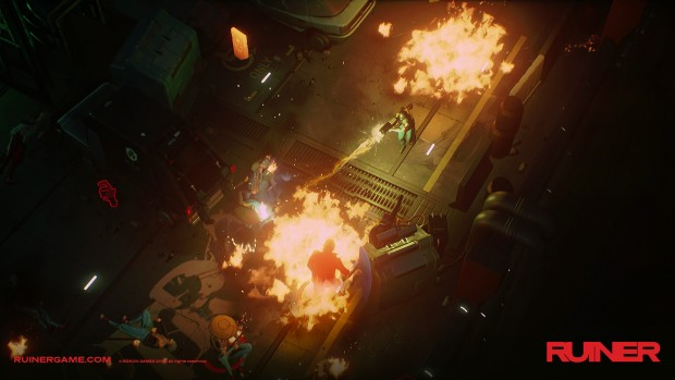 Ruiner screenshot of a rocket launcher explosion in progress