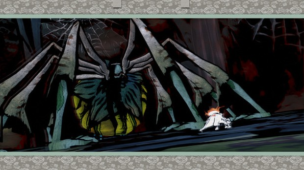 Okami HD screenshot of a fight against a spider boss