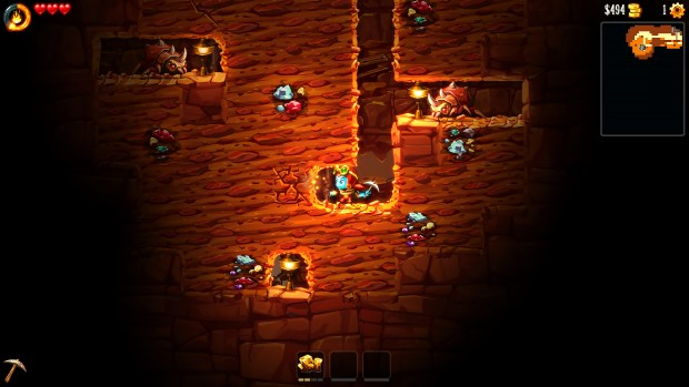 SteamWorld Dig 2 screenshot of our character tunneling through the level