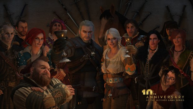 The Witcher 10th anniversary image showing off a variety of characters celebrating