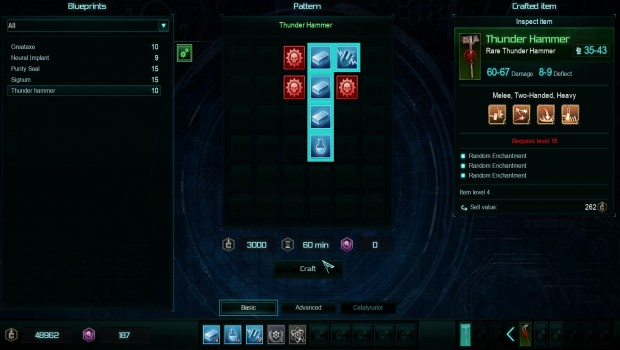 Warhammer 40k: Inquisitor - Martyr screenshot of the crafting window