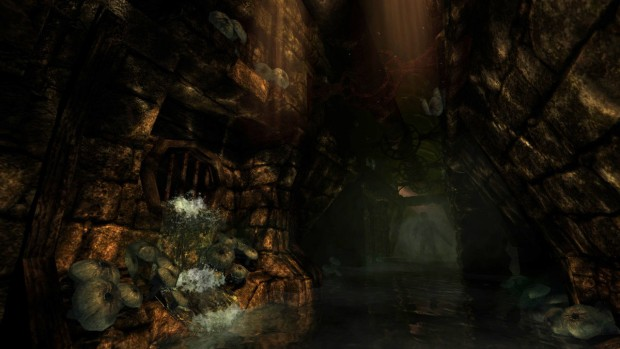 Amnesia: The Dark Descent shadow in the hallway screenshot