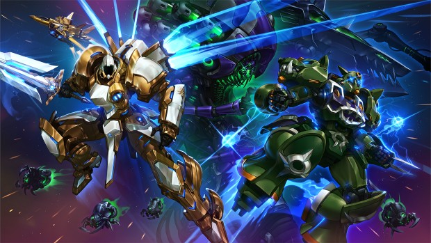 Heroes of the Storm artwork featuring Mecha Tyrael and Mecha Rehgar