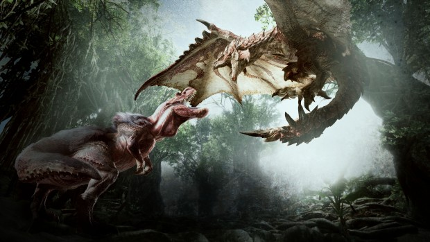 Monster Hunter: World screenshot of two giant beasts fighting