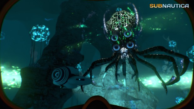Subnautica screenshot of a giant alien octopuss underwater