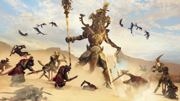 Total War: Warhammer 2: Tomb Kings Hierotitan attacking Skaven forces