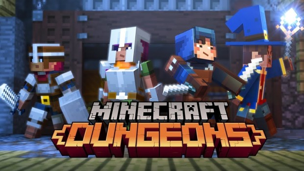 Official artwork and logo for Mojang's Minecraft: Dungeons