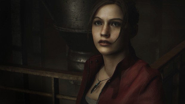 Resident Evil 2 remaster screenshot of Claire from up close