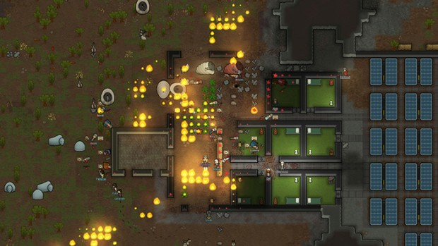 Rimworld screenshot of a colony under a mechanoid attack