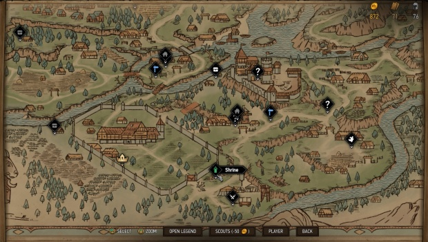 Gwent Thronebreaker screenshot of a map riddled with loot