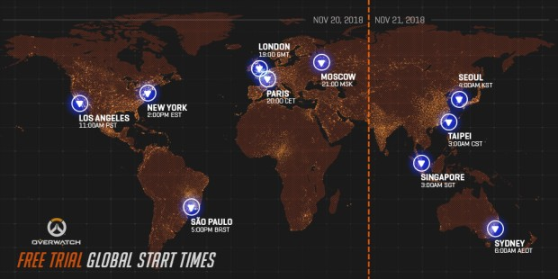 Overwatch free trial starting times for November 20th, 2018
