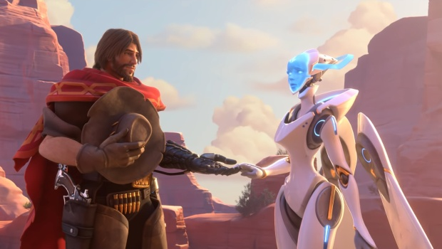 Overwatch screenshot of McCree and Echo