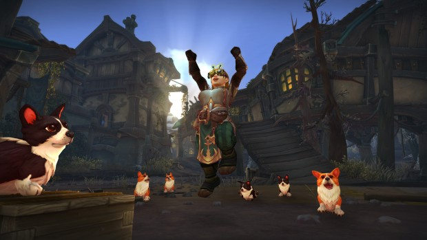 World of Warcraft screenshot of everyone being transformed into Corgis