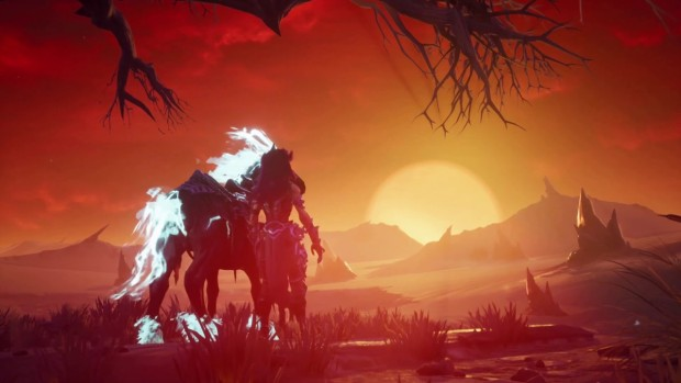 Darksiders 3 screenshot of Fury standing next to her horse Rampage