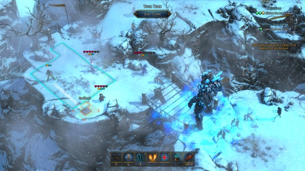 Druidstone screenshot of a battle on a frozen bridge