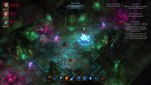 Druidstone screenshot of the turn-based combat in action