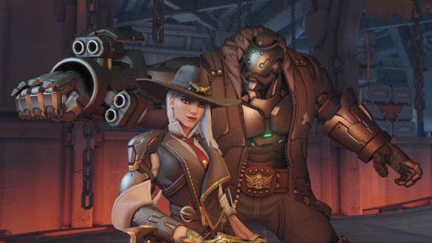 Screenshot of Ashe and B.O.B. from Overwatch