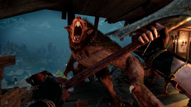 Vermintide 2 screenshot of a Rat Ogre attack in Back to Ubersreik DLC