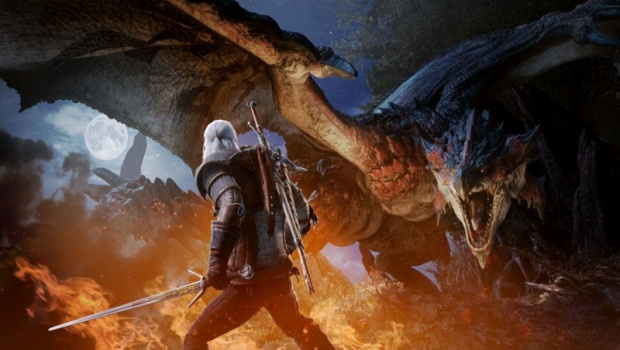 Monster Hunter: World screenshot of Geralt fighting a Rathian