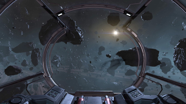 X4: Foundations screenshot of a ship flying through an asteroid field