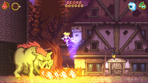Battle Princess Madelyn screenshot of a fire-breathing pig attacking our hero