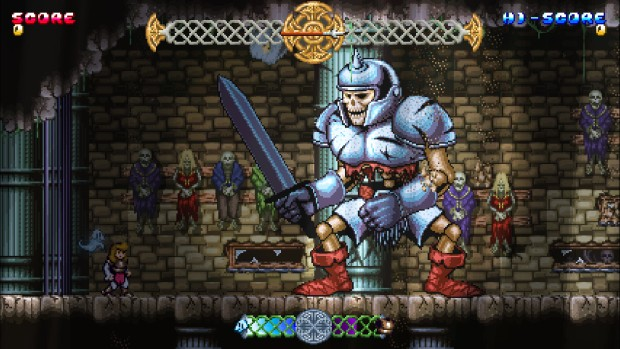 Battle Princess Madelyn screenshot of a battle against a giant skeleton boss