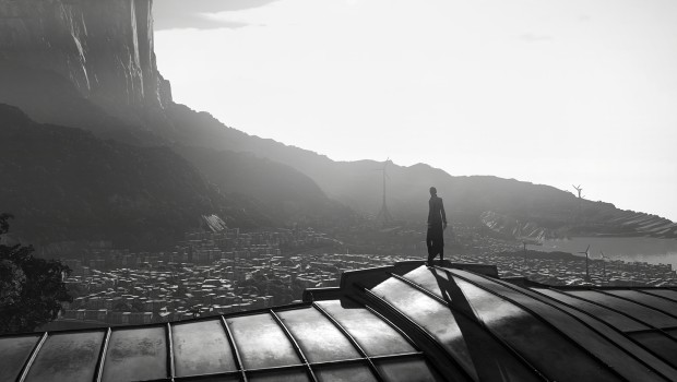 Dishonored 2 screenshot of the city rendered entirely in black and white